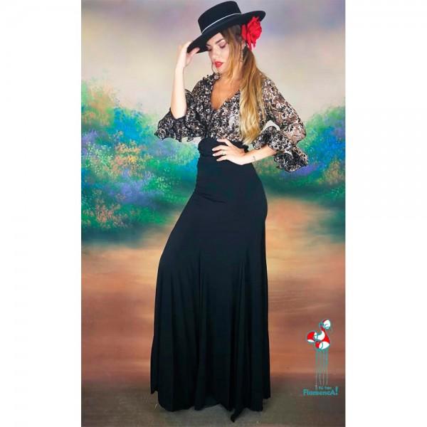 Camisa de flamenca con detalles en negroy color oro con transparencia